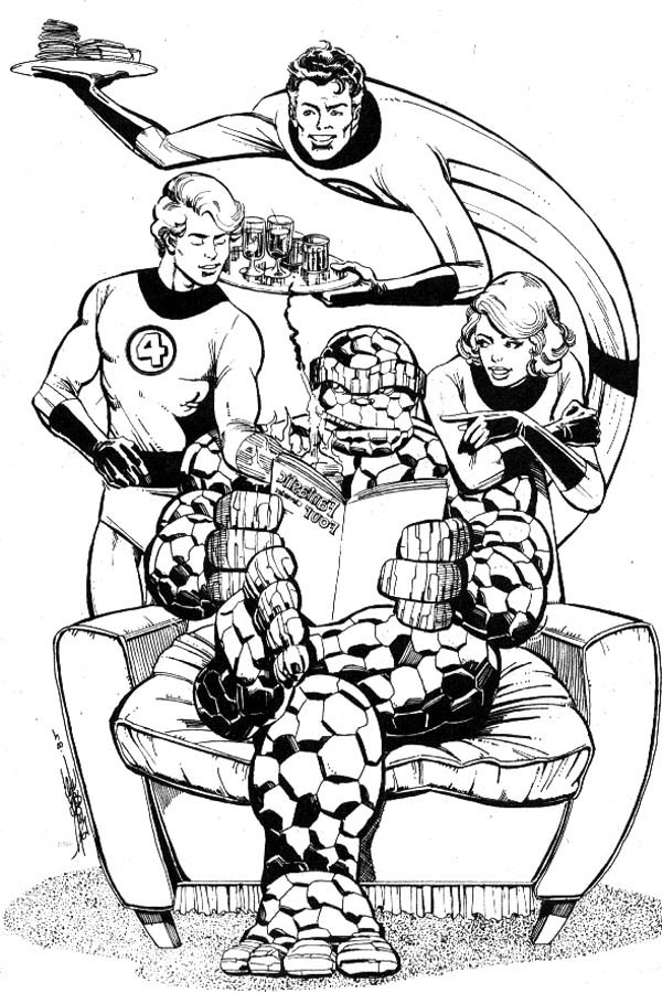 Fantastic Four Hangout Together Coloring Pages: Fantastic Four ...