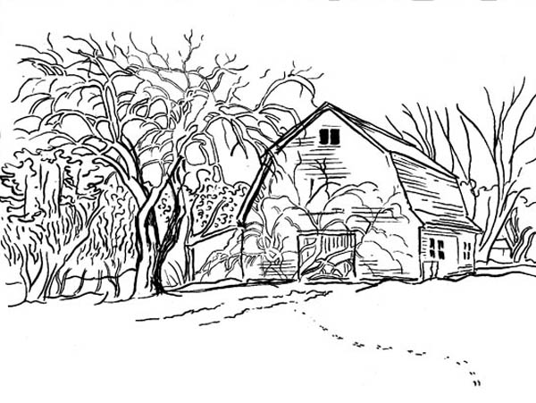 Farm Life Coloring Pages House At Village Farm Life Coloring