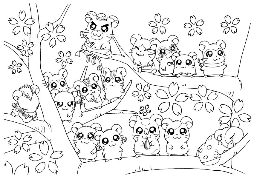 hamtaro and friends live on sakura tree coloring pages - Cherry Blossom Tree Coloring Pages