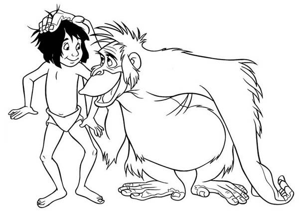 King Louie Rub Mowgli Head In Jungle Book Coloring Pages Bulk Color