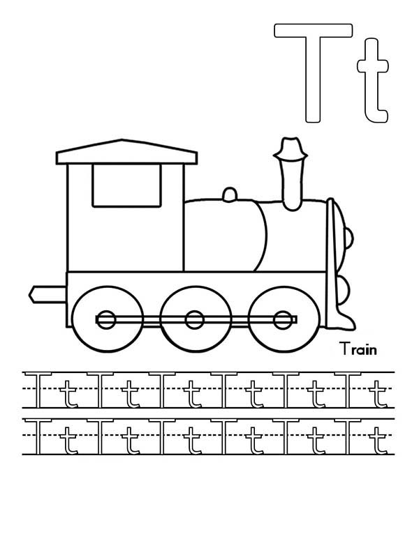 Upper Case and Lower Case Letter T for Train Coloring Page: Upper ...