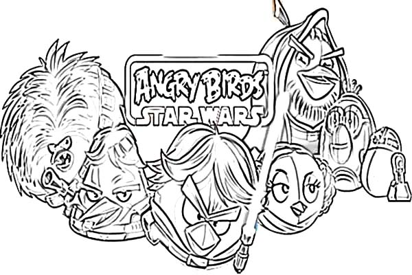 Angry Bird Star Wars Coloring Pages for Kids Angry Bird Star Wars