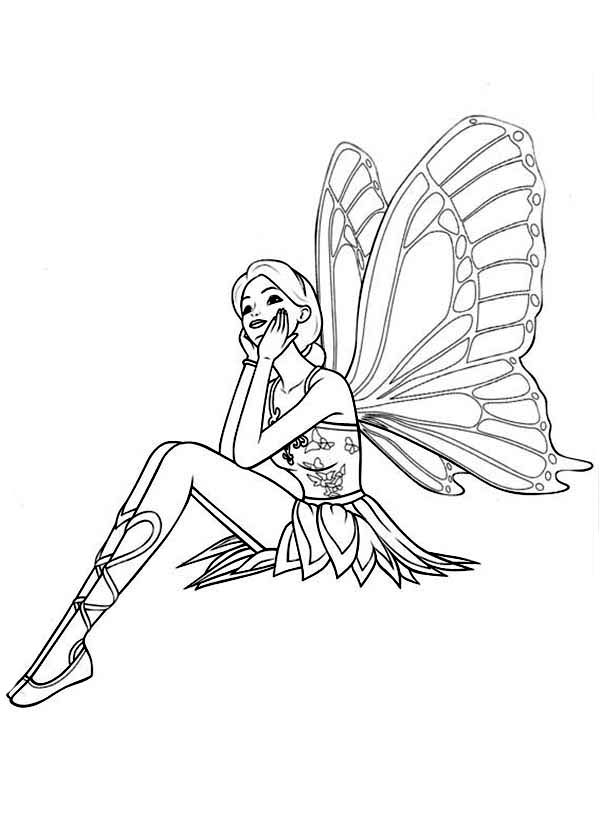 Barbie Mariposa Daydreaming About Prince Carlos Coloring Pages