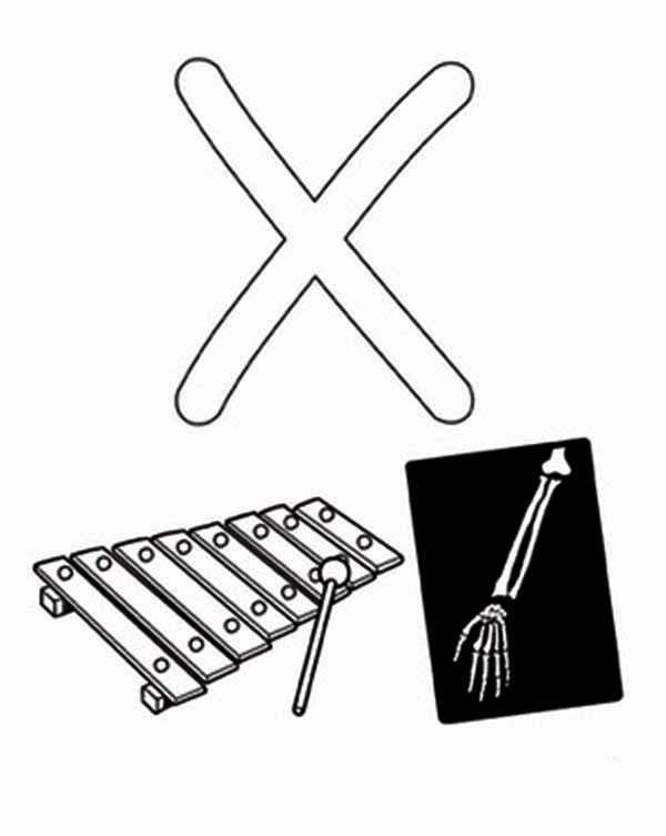 Xylophone and X Ray for Learning Letter X Coloring Page: Xylophone ...