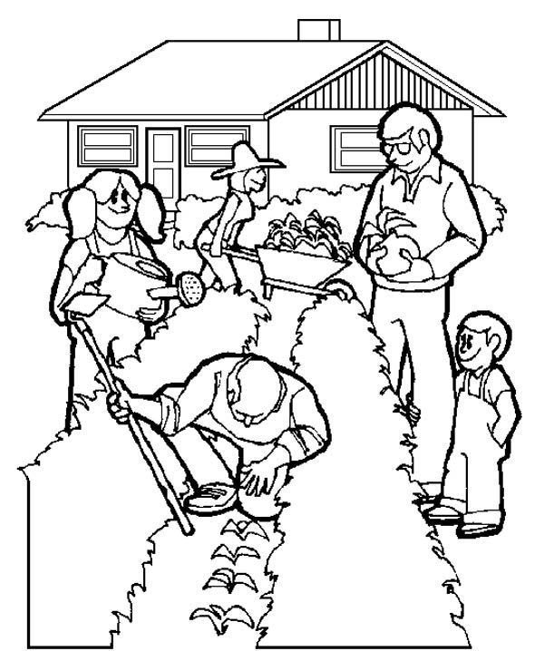 Gardening, : A Family Gardening Activity Coloring Pages