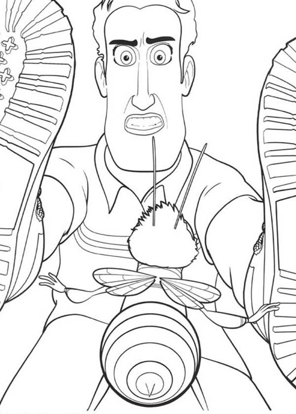 A Man Try To Strike Barry With His Shoes In Bee Movie Coloring Pages