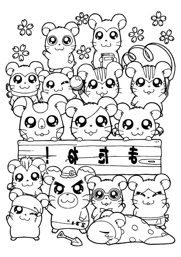 Hamtaro, : All Hamtaro Characters Coloring Pages