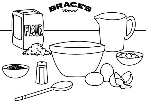 Bakery, : All Ingredients in the Bakery Table Coloring Pages