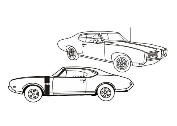 American Muscle Classic Cars Coloring Pages | Bulk Color