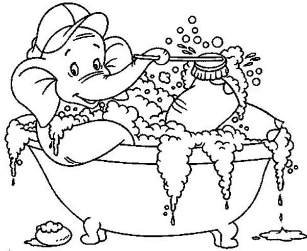 Bath, : An Elephant Who Love to Bath Coloring Pages