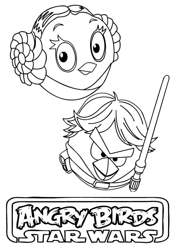 Angry Bird Star Wars, : Angry Bird Star Wars Princess Leia and Han Solo Coloring Pages