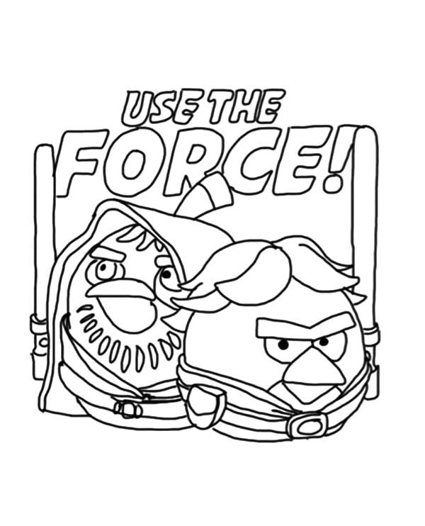 Angry Bird Star Wars, : Angry Bird Star Wars Use the Force Coloring Pages