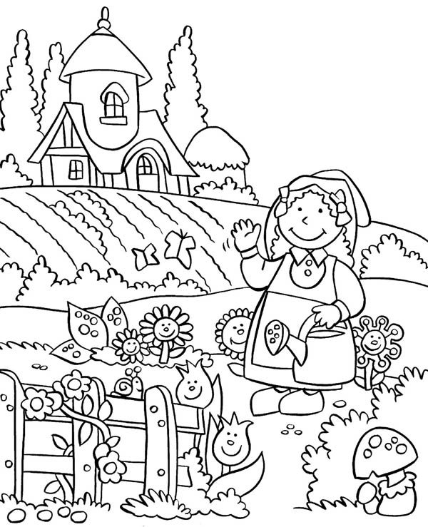 Gardening, : Anne Gardening Story Coloring Pages