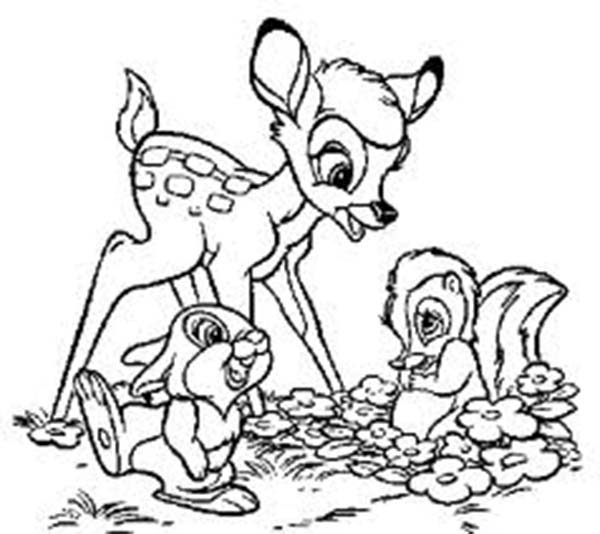 Bambi, : Bambi Meeting Her Friends Coloring Pages