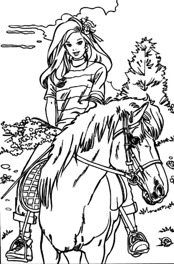 Barbie Coloring Pages Full Size : Barbie riding horse at the meadow coloring pages