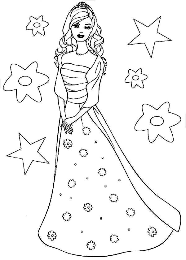 Barbie Coloring Pages Full Size : Barbie wearing starry dress coloring pages