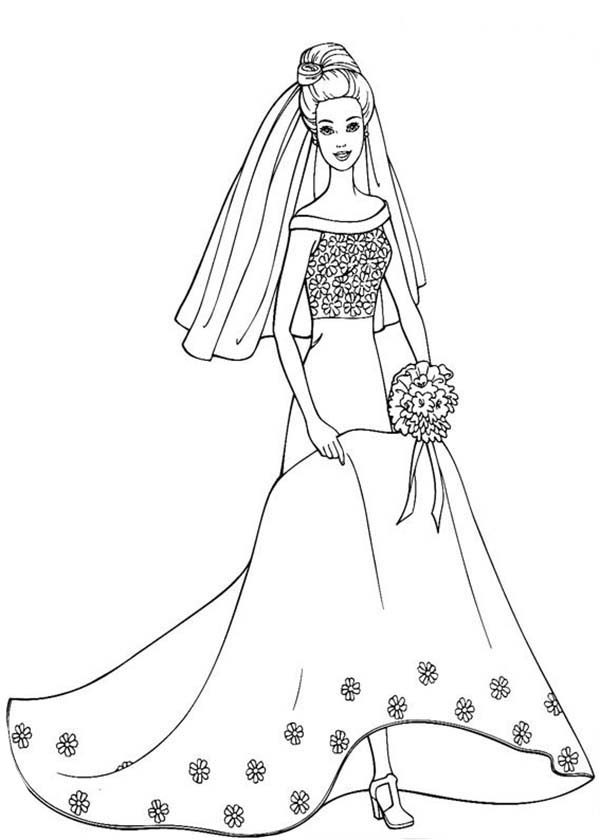 Barbie in Beautiful Wedding Dress Coloring Pages Bulk Color