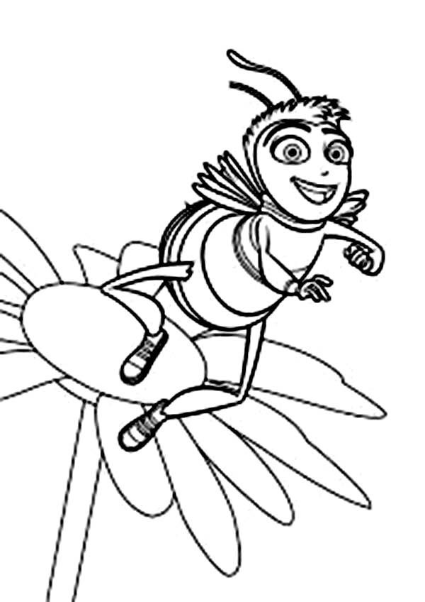 Barrry Dancing On The Flower In Bee Movie Coloring Pages
