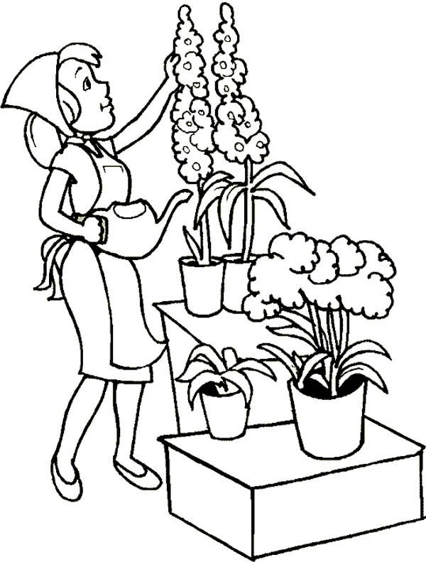 Gardening, : Beautiful Flower Gardening Coloring Pages