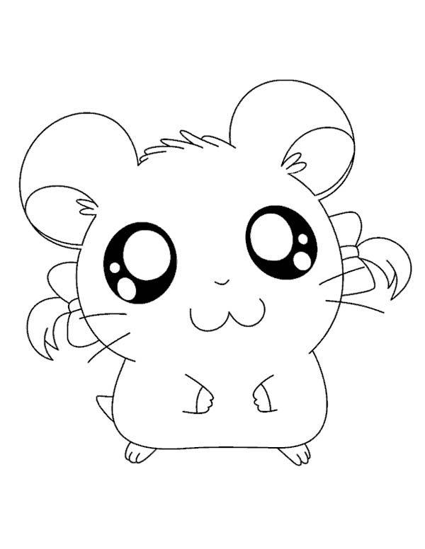 Hamtaro, : Big Eyed Hamtaro Coloring Pages