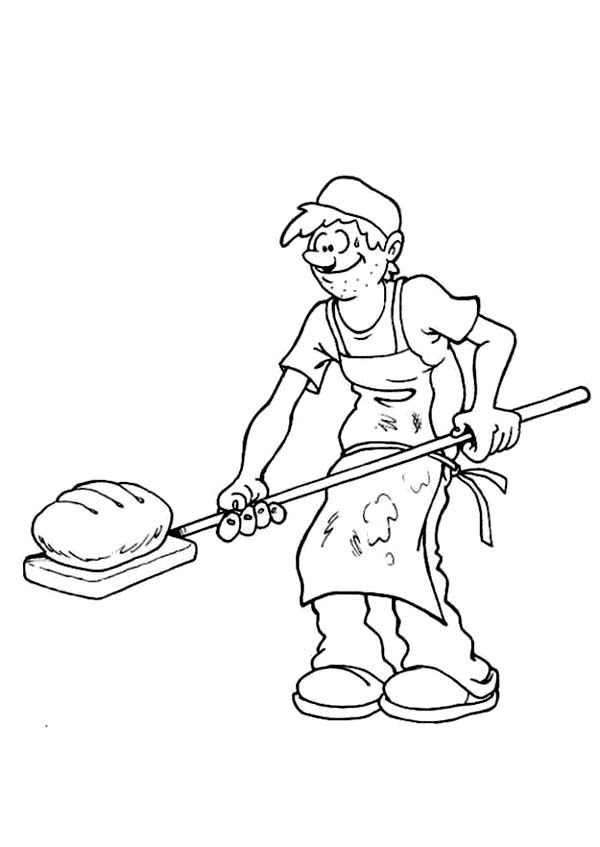 Bakery, : Chef Bakery Roasting Bread Coloring Pages