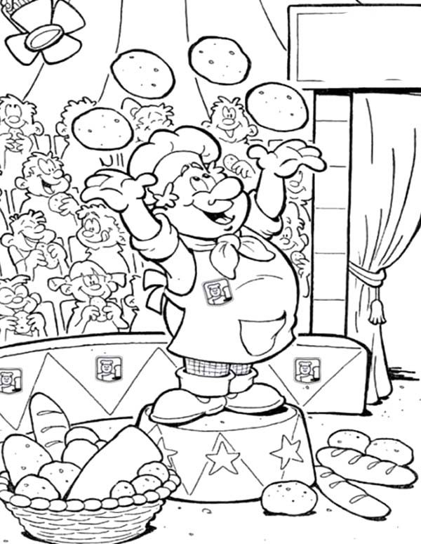 Circus Chef Bakery Juggling with Bread Coloring Pages Bulk Color