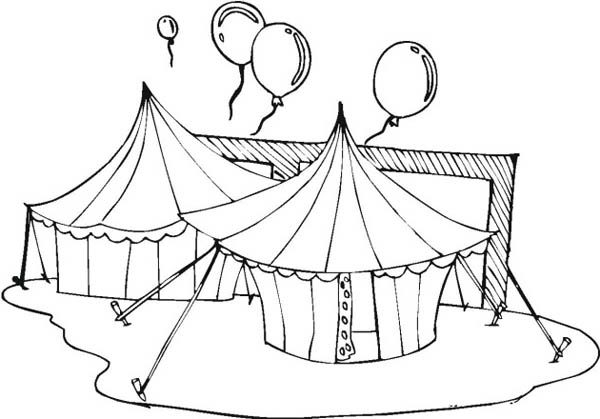 Circus and Carnival, : Circus and Carnival Tents  and Balloons Coloring Pages