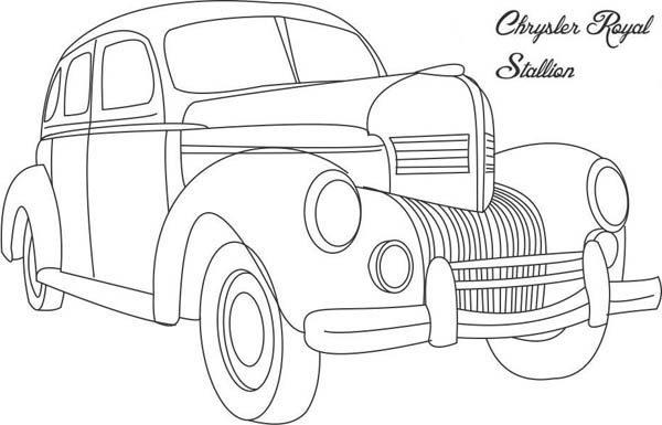 Classic Cars Coloring Pages Chrysler Royal Stallion | Bulk Color