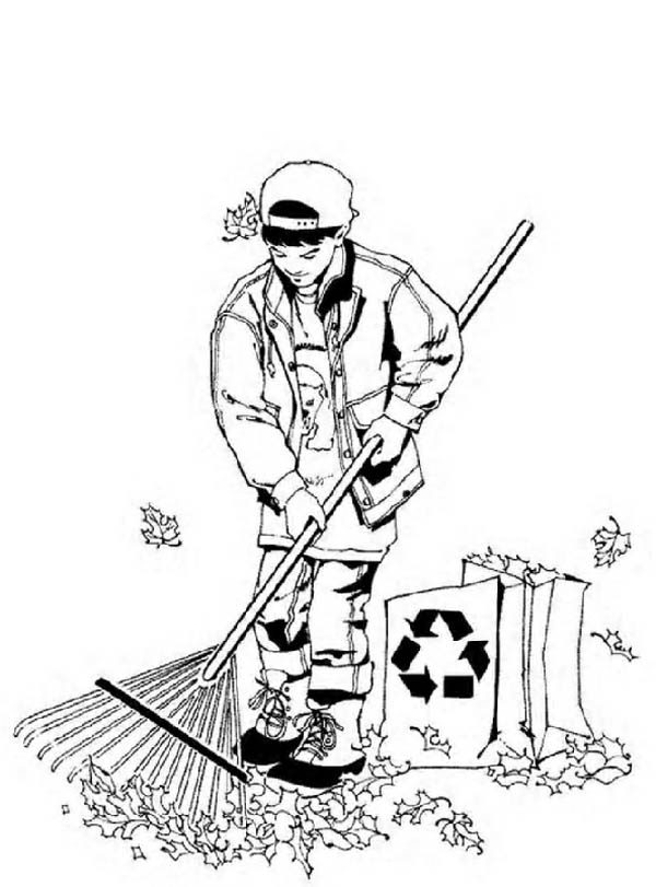 Gardening, : Cleaning Dry Leaves Before Start Gardening Coloring Pages