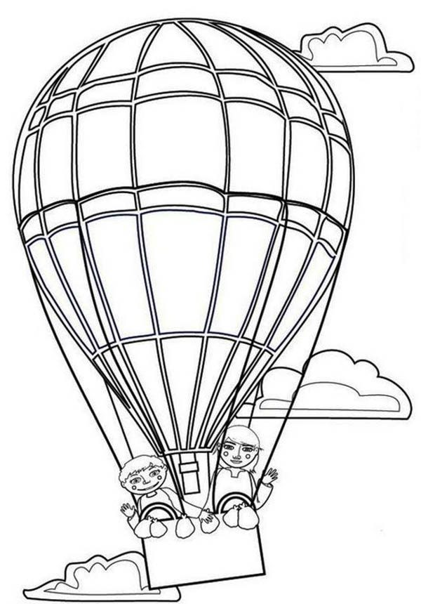 Hot Air Balloon, : Couple Lover on Hot Air Balloon Coloring Pages