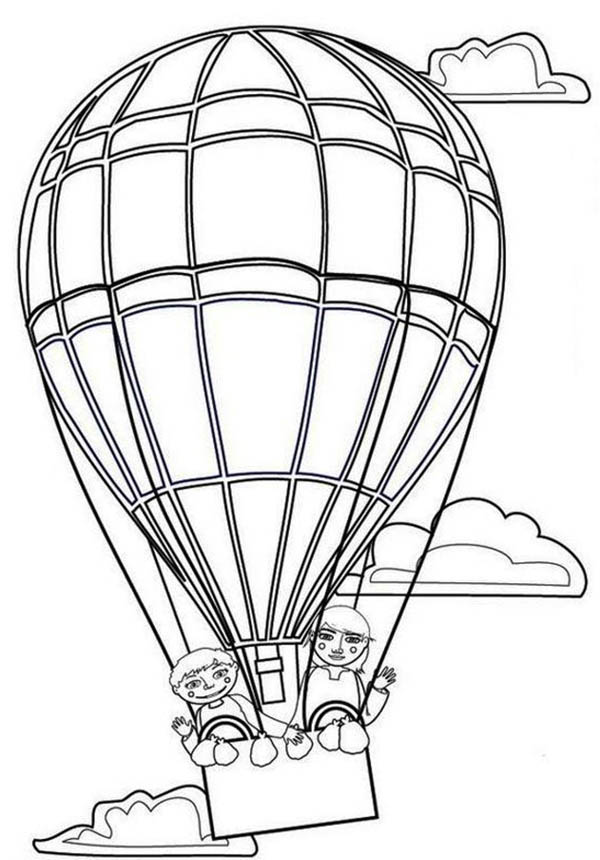 Hot Air Balloon, Couple Lover on Hot Air Balloon Coloring Pages: Couple Lover On Hot Air Balloon Coloring PagesFull Size Image