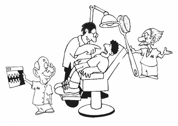 Dentist, : Dentist Coloring Pages for Kids