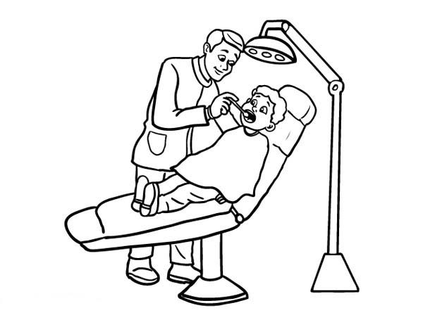 Dentist, : Dentist and Little Boy Coloring Pages