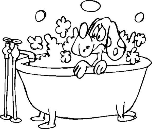 Bath, : Dig Bath with a Lot of Bubbles Coloring Pages