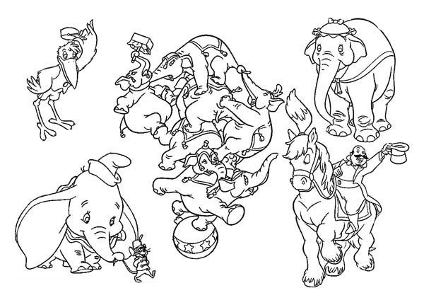 Dumbo the Elephant, : Dumbo the Elephant All Characters Coloring Pages