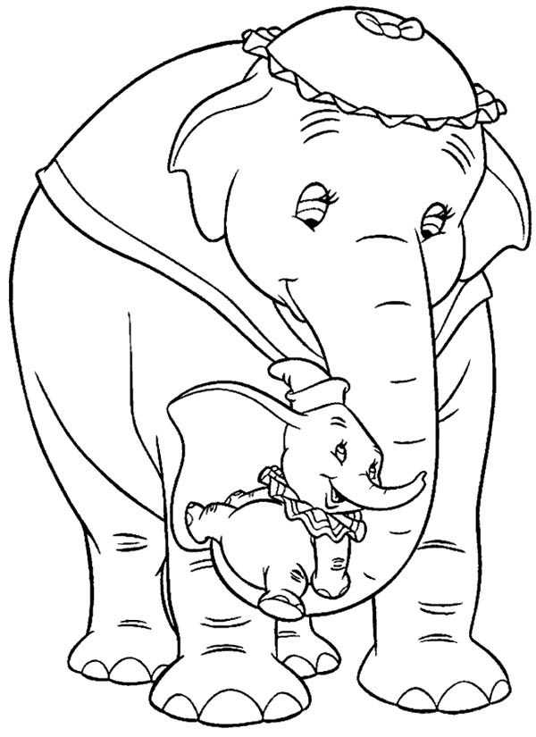 Dumbo the Elephant, : Dumbo the Elephant Lift by His Mrs Dumbo Coloring Pages