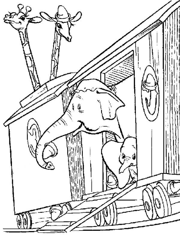Dumbo the Elephant, : Dumbo the Elephant and Friends on Circus Train Coloring Pages