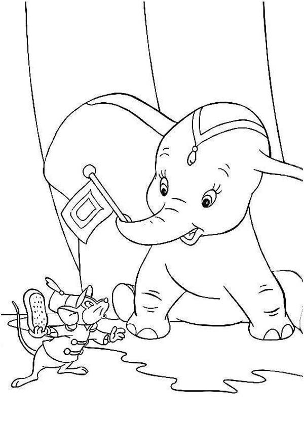 Dumbo the Elephant, : Dumbo the Elephant and His Friend Timothy Coloring Pages