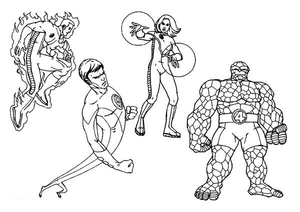 Fantastic Four, : Fabulous Fantastic Four Coloring Pages