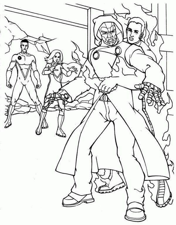 Fantastic Four, : Fantastic Four Cacthing the Enemy Coloring Pages