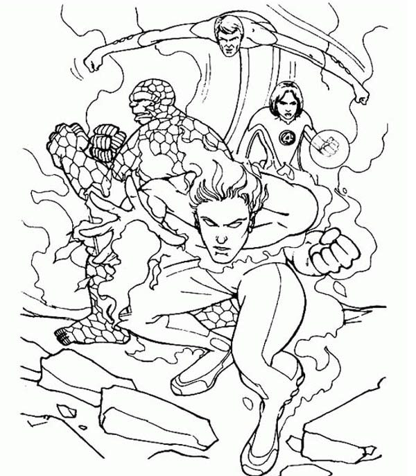 Fantastic Four, : Fantastic Four is Defending the Earth Coloring Pages