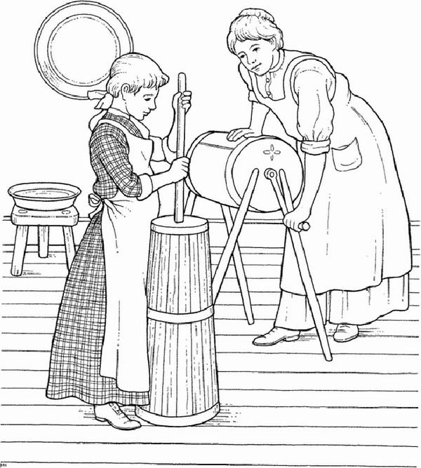 Farm Life, : Farm Life Coloring Pages A Little Girl Helping Her Mother