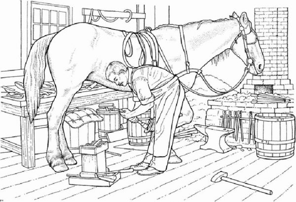 Farm Life, : Farm Life Coloring Pages Father Fixing Horseshoe