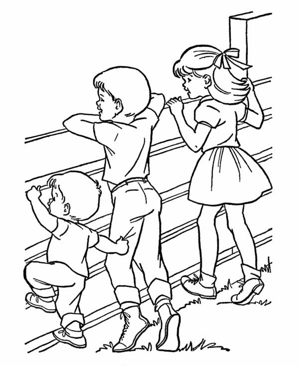 Farm Life, : Farm Life Coloring Pages Watching Animals from Outside Fence