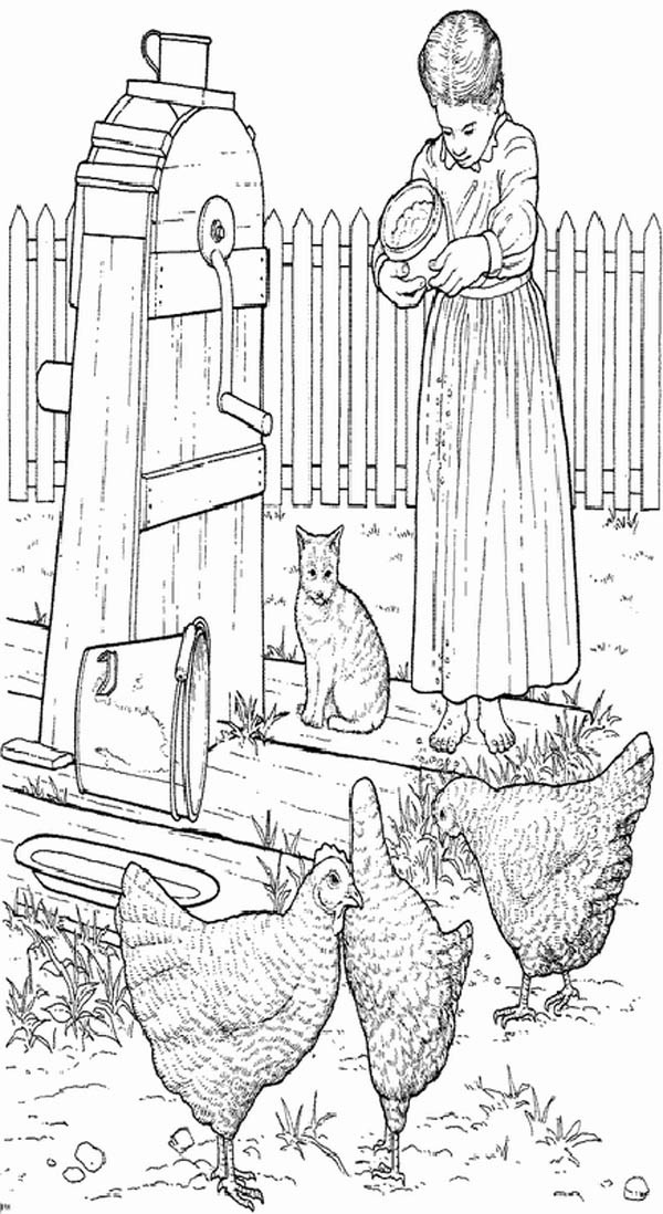 Farm Life, : Farm Life Coloring Pages a Girl Feeding Hen