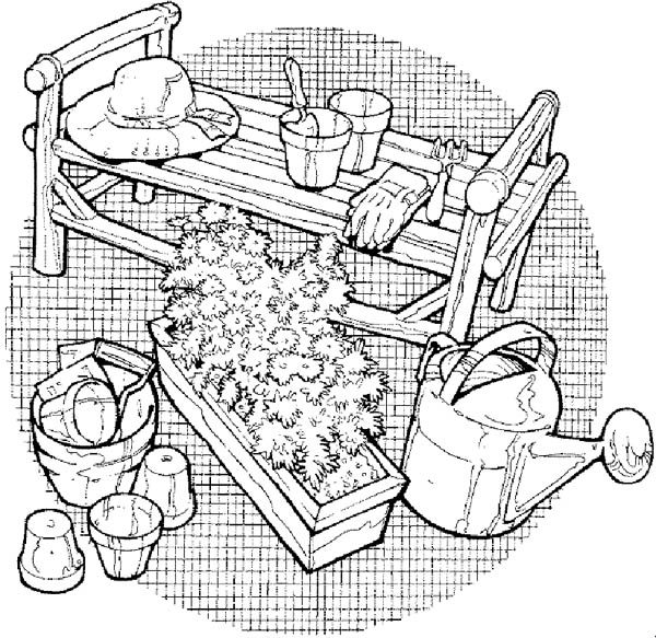 Gardening, : Gardening Tools Coloring Pages