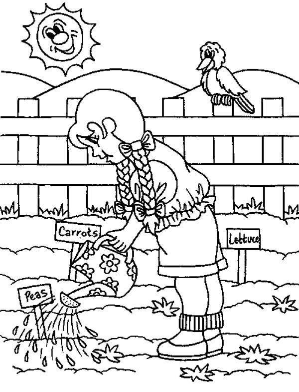 Gardening, : Gardening in the Morning Watering Plant Coloring Pages