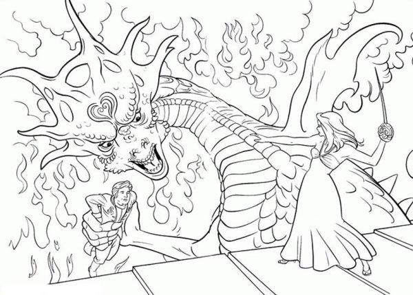 Enchanted, : Giselle Fight Dragons in Enchanted Coloring Pages