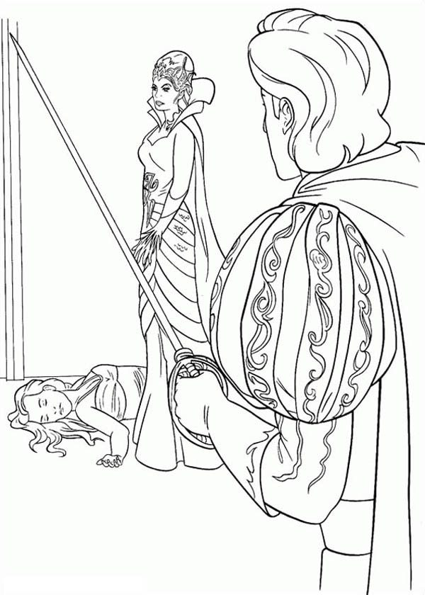 Enchanted, : Giselle Pass Out in Front Queen Narissa in Enchanted Coloring Pages