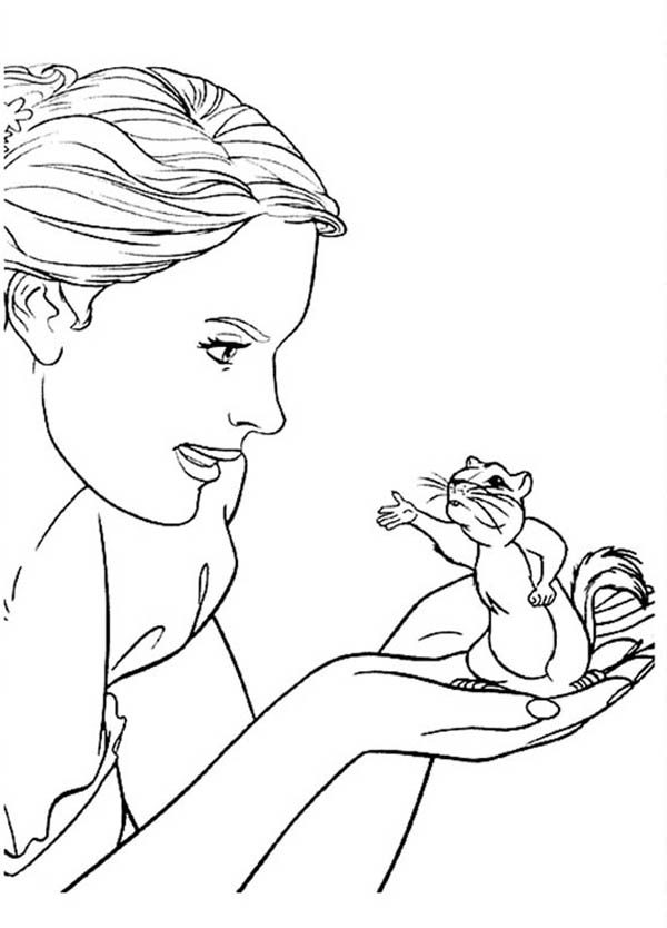 Giselle Talking to Pip in Enchanted Coloring Pages | Bulk Color